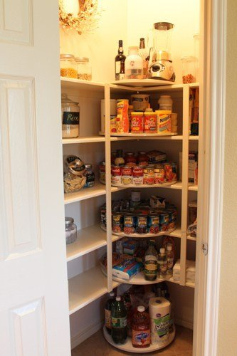 lazy susans make the pantry corners useable