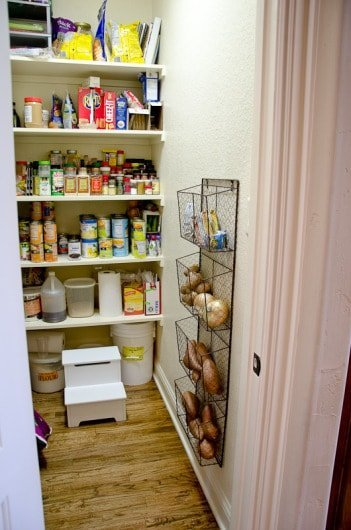 magazine rack bins to hold produce for pantry oranization