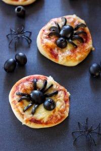 Mini Spider PIzzas Halloween Themed Food Ideas