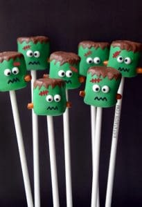 Halloween Frankenstein Marshmallow Pops