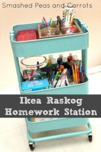 Rolling homework supplies station