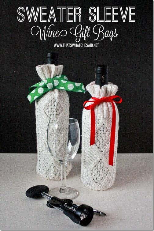 Homemade Sweater Wine Gift Bag