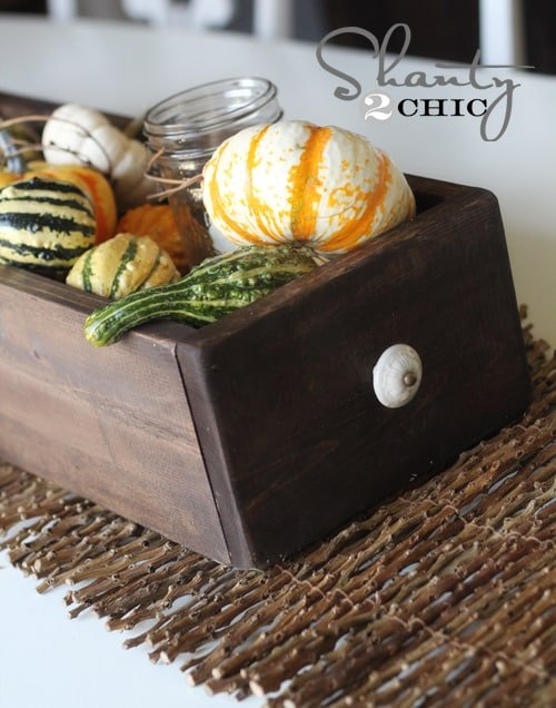 Wooden Pumpkin Box Thanksgiving Table Decor